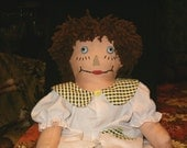 "Vintage 1960's, Raggedy Doll, Handmade, Hand Sewn Face, Brown Hair, White Blouse, Google Eyes, 19""L"