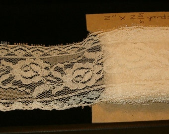 "Vintage 1980's Creamy White Lace, Lightweight, Perfect for Trims and Inserts, 2"" x 2 5/6 yd"