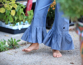 Chambray Denim Ruffle PANTS ONLY