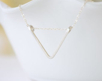 Sterling Silver Triangle Necklace - simple silver or gold geometric arrow necklace - 1135