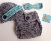 Newsboy Baby Hat, Diaper Cover and Tie Set, Photo Prop, Choose Your Size and Colors