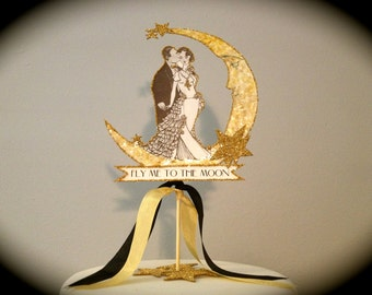 Great Gatsby Wedding Cake Topper, Moon, Gold Glitter Outline and Detail, Bride and Groom