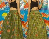 Light Green and Solid Dark Green--Princess Long skirt--Free size - Plus size, Thai Batik.