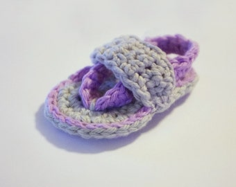 Crocheted Baby Flip Flops With Straps  - Pick Your Colors - 100% Soft Cotton - Spring Summer Handmade