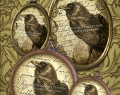 Victorian Goth Poe Ravens - 30x40mm Ovals, 18x25mm Ovals, 1-inch Circles and 20mm Circles - Digital Collage Sheet - Instant Download