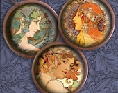 Art Nouveau Ladies - Mostly Mucha - 1 inch Circles - Alphonse Mucha - Digital Collage Sheet - Instant Download - Printable jpegs