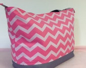 Large chevron tote bag, pink and gray tote bag, diaper bag, chevron tote bag with a recessed zipper