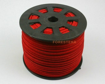 1 Roll 98 Yards Leatherette Red Rectangle Cord Leather Rope 2.5x1.5mm (CORD06)
