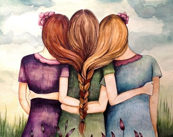 """Three sisters art print with quote """"the most important things in life are not things"""""""