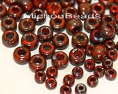 50 Grams 6/0 Round Opaque RED Garnet PICASSO Miyuki Glass Seed Beads - 4mm Boho Seed Beads w/ 1.5mm Hole - Instant Ship from USA - 5640