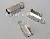 BULK 100 PLATINUM 12mm Fold Over Cord End Tip Crimp - 12x4mm w/ 3.5mm Inside Clamp - Instant Ship - USA Discount Crimps and Beads - 5857