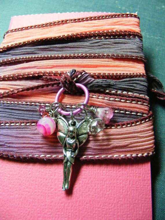 RESERVED for Theresa Pink and Purple with Fairy Silk Wrap Bracelet