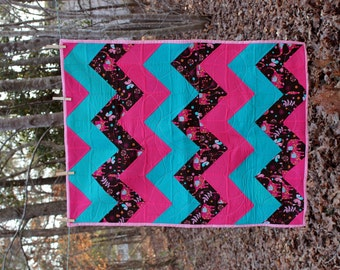 Chevron Quilted Blanket - Pink, Teal, Brown Elephants - SALE
