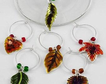 Fall Leaf Leaves Wine Charms Set of 6