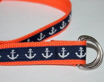 Kids Anchor Belt Navy and Orange Nautical