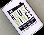 Wine Label Favors for Realtors, New Home,Mid Century House, Set of 18