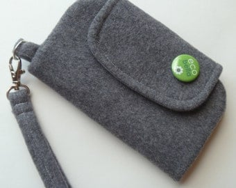 Wool Upcycled Phone Clutch-Gray