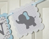 Elephant Name Banner, Birthday Party,  Baby shower Banner, Blue Elephant , Welcome Baby Banner, Grey and Light Blue Banner, Boy Banner