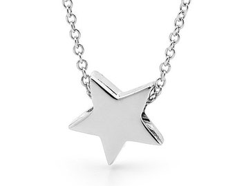 Star Necklace in sterling silver, small silver star pendant, necklace or anklet, star charm