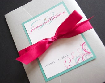 Pocketfold Wedding Invitations, Silver and Pink Wedding Invitations, Pink Wedding Invites, Wedding Invitations