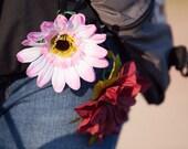 Reflective pink gerber daisy zipper pull