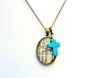Old Rugged Cross.  Brass Hymn Necklace with Turquoise Cross.