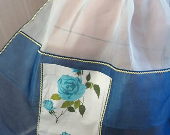 Vintage Frilly Apron, Blue Organdy Apron, Blue Rose Chintz Pocket, Rick Rack, Rockabilly Retro, Mid century apron, Unused, New Old Stock