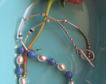 Silver and blue bead necklace