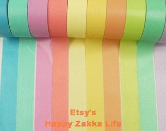 Japanese Washi Masking Tape Set - Rainbow Tape Set - 15mm wide - 5.5 Yards (each roll) - 10 rolls