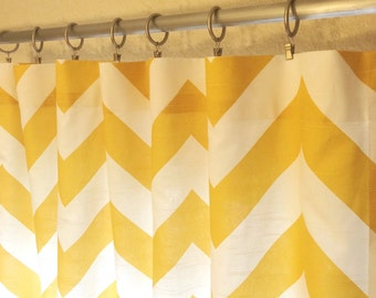 Yellow Big Chevron Curtain Panels. 25 or 50 Inch Widths. 63, 84, 96, 108, 120 Lengths. Window Treatments. Zippy Drapery Curtains.