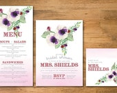 Ombre + Watercolor Bridal Party Invitation, Menu, Table Card (Set of 25), Printable Bridal Party Set