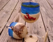 Harbor view hand painted wine glasses