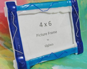 Fused Glass Picture Frame Blue White Home Decor Photo Frame Wedding Gift Birthday Anniversary Holiday Gifts Under 30