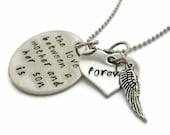 """SALE: Sympathy Mother & SON Necklace """"The love between a mother and son is forever"""" with angel wing, memorial, lost child, mother's necklac"""