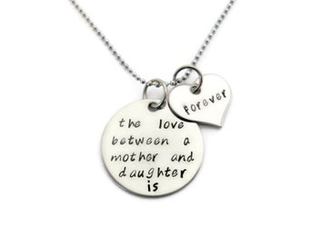 """Mothers day SALE: Mother & Daughter Necklace """"The love between a mother and daughter is forever"""" hand stamped mother daughter necklace"""