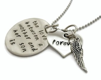 "SALE: Sympathy Mother & SON Necklace ""The love between a mother and son is forever"" with angel wing, memorial, lost child, mother's necklac"