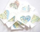 Heart Stickers, Vintage Map Heart Stickers, Wedding Favor, Eco-Friendly Wedding, Destination Wedding, Vintage Style