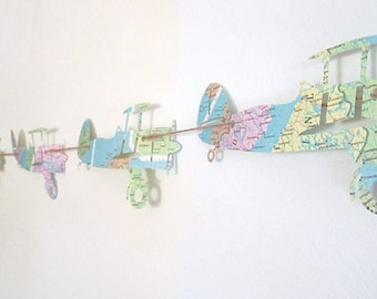 Vintage Airplanes, Garland, Map Airplanes, Map Nursery, Garland, Vintage Travel Theme, Airplane Nursery, Travel Theme