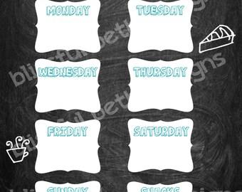 CHALKBOARD MENU PLANNER Weekly Menu Plan, Printable Menu Planner, Instant Download Planner, Weekly Menu, Printable Menu Plan, Menu Planning