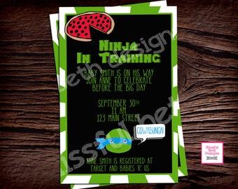 tmnt baby shower teenage mutant ninja turtle baby shower invitation