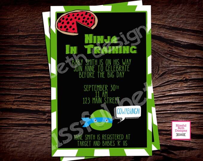 TMNT Baby Shower,  Teenage Mutant Ninja Turtle Baby Shower Invitation, TMNT Shower Invitation, TMNT Invite, Ninja In Training