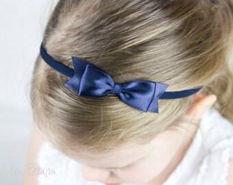 Navy Classic Ribbon Bow Headband OR Clip -  Classic Bow -  Satin Navy  Bow Handmade Headband - Infant to Adult Headband