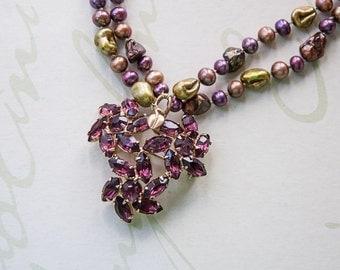Vintage Purple Flower Brooch Necklace - Amethyst Flower Necklace - Purple, Green, Bronze, Pearl Necklace - Vintage Purple Brooch Necklace