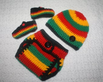 Infant Rasta Baby Diaper Cover, Hat and Booties Set-  Baby Shower Gift,