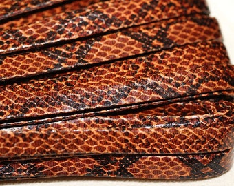 4 Ft. per pack of Flat 10mm width 2mm thickness Synthetic Snake Textured Leather.