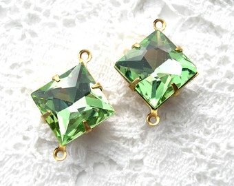 Two Piece Set of Peridot Glass Jewel Connectors in Antiqued Brass 12mm