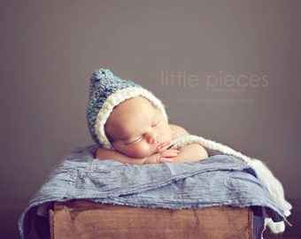 PDF Crochet Pattern - newborn photography prop handspun thick and thin pixie hat #6