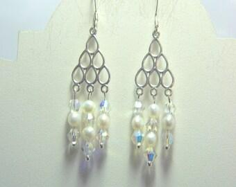 Sterling silver,white seed pearl and Swarovski crystal chandelier earrings