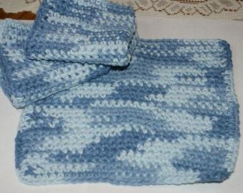 Crochet  dishcloth Set of 3  All Cotton