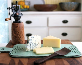Cheese Board Tray with Geometric Dot Design - Rustic Aqua Mist - Modern Ceramic Serving Dish Home Decor - MADE TO ORDER